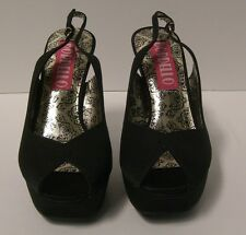 Bordello Peony Peep Toe Slingback Sandals Size 8 Black Satin Retro Pinup