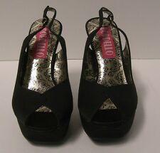 Bordello Peony Peep Toe Slingback Sandals Size 8 Black Satin Retro Pinup