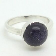 Blue Goldstone Round Ring, UK Size N, Actual One. Solid Sterling Silver
