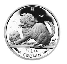 2000 Isle of Man Scottish Fold Cat Coin 1 oz Silver Proof with Box & Coa