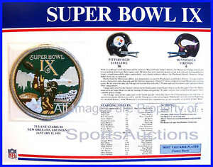 SUPER BOWL 9 Steelers / Vikings 1975 Willabee Ward OFFICIAL SB IX NFL PATCH CARD