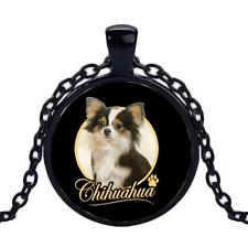 Vintage Chihuahua Black Cabochon Glass Necklace chain Pendant