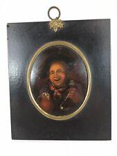 Antique, Continental School, Portrait Miniature Of Gentleman, Oil Painting