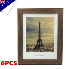 6 x A4 Size Document Certificate Photo Picture Glass Frame Sets Wooden Timber