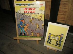 Lambil&Cauvin-EO-Tuniques bleues-Les Bleus en folie+ Ex Libris, Signé-1991
