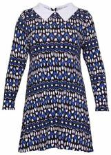Vestiti da donna maniche a 3/4 blu con colletto