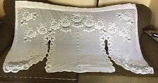 Vintage White Cotton Lace Window Valance Panels Shabby County Chic Cottage