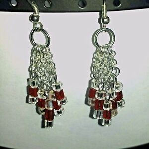 Petite Red Silver Chain Chandelier Seed Bead Chevron Dangle Holiday Earrings