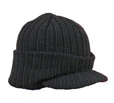 BEECHFIELD Beanie Trendy Mütze mit Schild Schirm Strickmütze Schirmmütze schwarz