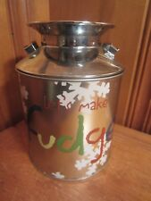 """Stainless Steel Holiday Christmas Tin Milk Can Snowflakes Lets Make Fudge 6""""Hx5"""""""