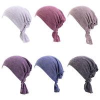 Women's Plain BONNET Cap Muslim Turban Cancer Chemo Hat Hijab Hair Loss Headwrap