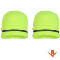 QTY: 2  Safety Beanie - Hi-Viz Lime Knit Winter Cap - FREE SHIPPING