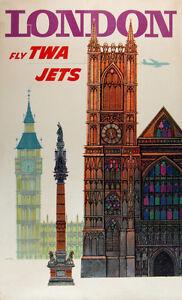 Vintage David Klein TWA Poster London England Mid Century Modern