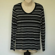 'BLACK PEPPER' BNWT SIZE '10' BLUE. GREY & BLACK STRIPED LONG SLEEVE TOP