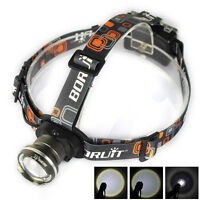 BORUIT 20000LM XM-L T6 LED 3 AA Zoomable Headlamp Flashlight Camping Headlight