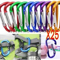 25 X Aluminum Carabiner D-Ring Clip Snap Hook Climbing Key Chain Hiking Keyring