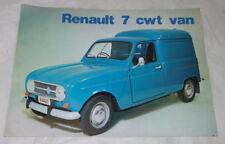 Renault 7cwt Van 1972 UK Sales Brochure