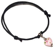 Black Cord Ankle Bracelet Adjustable Anklet Silver Bead Foot Charm Hippy Surfer