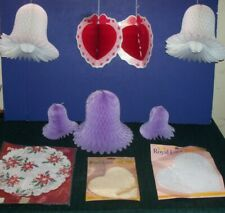 Purple & White Honeycomb Bells & Red Hearts - Vntg Paper Doilies