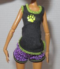 TOP & BOTTOM ~ MONSTER HIGH DOLL ~ MATTEL DEAD TIRED CLAWDEEN WOLF PAJAMAS