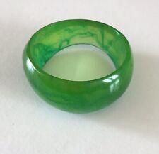 RETRO Green Marbled Chunky Plastic Bangle 80's Style Irregular Festival