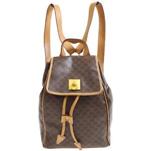 CELINE Macadam Backpack Hand Bag M14 Purse Brown PVC Leather Vintage 60411