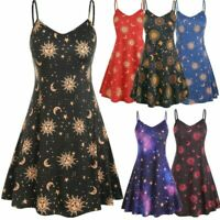 WOMENS LONG CAMI SWING DRESS CAMISOLE PLUS SIZE VEST TOP SUN STARS MOON PRINT