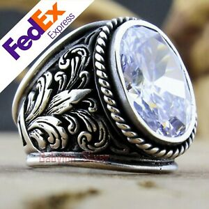 Turkish Handmade Ottoman 925 Sterling Silver Clear CZ Men's Luxury Ring All Size