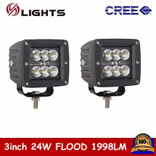 2X 3inch 24W CREE LED Work Light Cube Pods Off-road Driving Flood Lamp Jeep Ford
