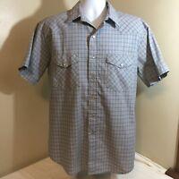 Big Mac Western Shirt Large 16 16.5 Pearl Snap Cowboy Blue Gold Plaid USA Made