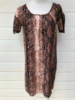 WITCHERY Short Sleeved Silk Blend Snakeskin Print Shift Dress - XS