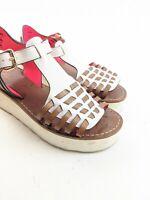 Coach New York Putnam Huarache White Brown Leather Platform Wedge Sandals 7 B