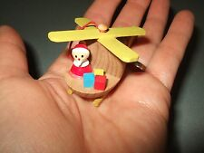 Vintage Goula Wood Santa & helicopter Christmas Ornament wooden propeller moves