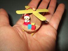 Vintage Goula Wood Santa & helicopter Christmas Ornament wooden propeller moves