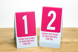 Plastic Table Numbers 1-100, Pink w/ White Number, Tent style, Free shipping
