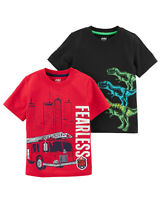 Carter's Toddler Boy 2 Pack Short Sleeve Dinosaur/Fire Truck Graphic T-Shirts 5T
