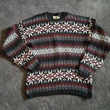 Woolrich Sweater Nordic Fair Isle Cotton Crew Neck Men's Large Red Black Gray
