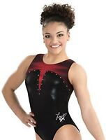 "LAURIE HERNANDEZ Leotard GK ELITE gymnastics ""LADY IN RED"" Black Rhinestones AXS"