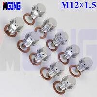 10Ps M12X1.5 Engine Magnetic Oil Pan Drain Plug Bolt Kit Crush Washer Nut  SL