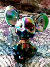 Fenton Mouse Green Emerald Carnival Figurine Christmas Holly Berry Gift Shop Ex