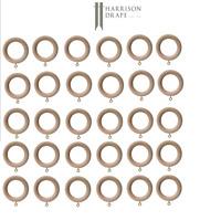 30 x 28mm Wooden Curtain Rings Harrison Drape Mid Oak Colour