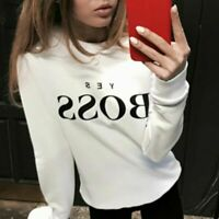Women Sleeve Tops Letter Long Blouse Pullover UK Print Sweatshirt Hoodie Jumper