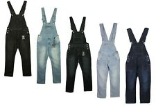 Mens Big King Size Denim Dungarees Jeans In Black Mid Wash Colours Sizes 30-70
