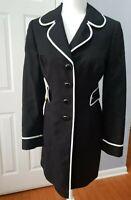 ANN TAYLOR LOFT NWT $139 Unique Trendy Black White Trench Coat jacket Size 6