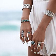 9Pcs Women Charm Retro Boho Geometry Finger Rings Silver Tune Punk Vintage Ring