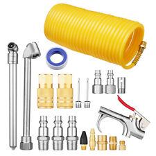 """20pc Air Compressor Accessory Kit Tool 25Ft Recoil Hose Gun Nozzles Set 1/4"""" Npt"""
