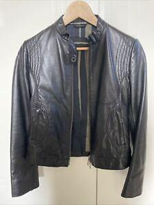 Emporio Armani Womens Leather Biker Jacket Size 40 (s)