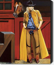 My Buddy And Me by David DeVary Cowgirl Yellow Rain Slicker Horse 22x28 Paper