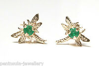 9ct Gold Emerald Stud Dragonfly Earrings Gift Boxed studs Made in UK
