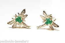 9ct Gold Emerald Stud Dragonfly Earrings Gift Boxed studs Made in UK Xmas